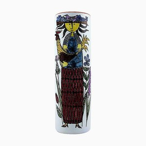 Vase Decorated with a Women by Stig Lindberg for Gustavsberg, 1940s