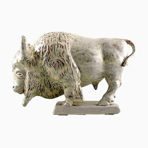 Bison Sculpture in Earthenware with White Glaze by Ovar Nilsson, 20th Century