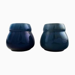 Swedish Art Deco Lidded Vases in Dark Blue Faience from Rörstrand, 1930s, Set of 2