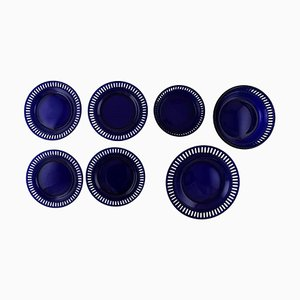 Plates and Bowls in Dark Blue Art Glass by William Steberg for Gullaskuf, 1960s, Set of 7