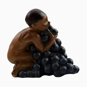 Stoneware Figurine of Boy with Bunch of Grapes by Kai Nielsen for Bing & Grondahl, 1920s