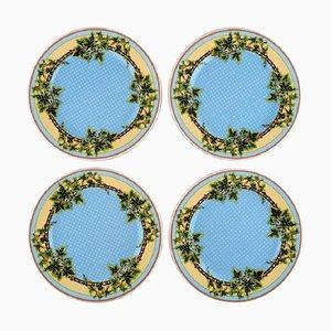 Assiettes à Abat-Jour Bleu Ivy par Gianni Versace pour Rosenthal, Fin 20ème Siècle, Set de 4