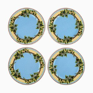 Blue Ivy Leaves Plates by Gianni Versace for Rosenthal, Late 20th Century, Set of 4