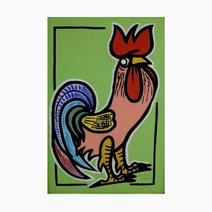 Standing Rooster Oil Painting on Board by Villy Buus Nielsen, 1959