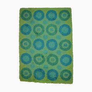 Swedish Rya Flower Power Carpet in Green and Blue Design, 1960s