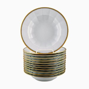 Deep Plates in Porcelain with Gold Border from Royal Copenhagen, 1990s, Set of 12