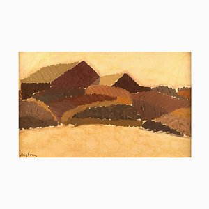 Swedish Oil on Board Modernist Landscape von Sven Angborn, 1970er