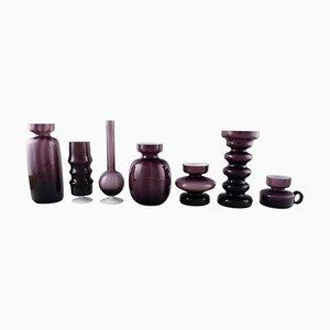 Swedish Modern Purple Art Glass Vases, 20th Century, Set of 7