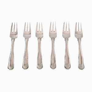 Danish Pastry Forks in Sterling Silver from Georg Jensen, 1940s, Set of 6
