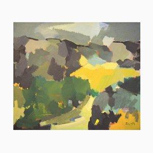 Scandinavian Modernist Colorful Landscape Oil on Canvas, 1964