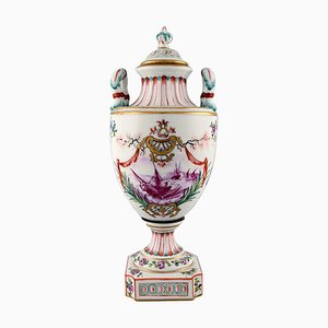 Antique Lidded Vase of Porcelain in Overglaze, Late 19th Century