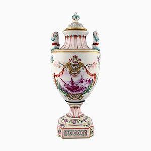 Vase à Couvercle Antique en Porcelaine en Plaqué de Zircon, Fin 19ème Siècle