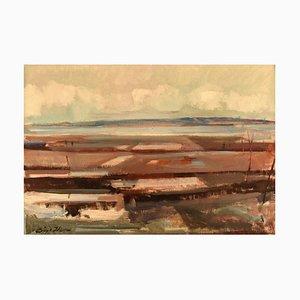 Danish Modernist Landscape Oil on Canvas by Børge Hansen, 1960s