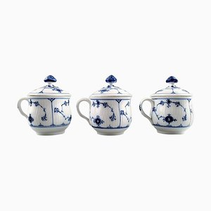 Antique Blue Fluted Plain Custard & Cream Cups with Handles from Royal Copenhagen, 19th Century, Set of 3