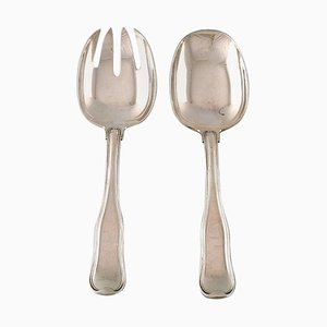 Danish Salad Set in Sterling Silver from Georg Jensen, 1940s, Set of 2