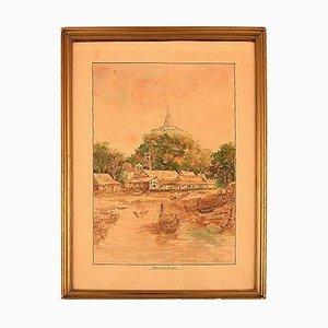 Aquarell auf Papier Phu Khao Thong & Tempel des Heiligen Bergs, Frühes 20. Jahrhundert