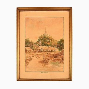 Watercolor on Paper Phu Khao Thong & Temple of the Holy Mount, Early 20th Century
