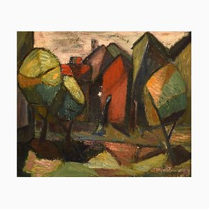 Swedish Oil on Canvas Cubist Landscape by Sonja Ivarsson, 20th Century