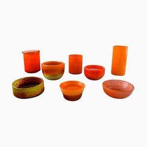 Scandinavian Orange Art Glass Vases and Bowls, 1960s, Set of 8