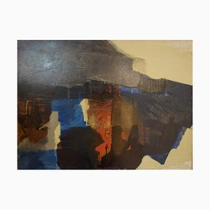 Swedish Oil on Board Abstract Landscape by Eric Göran Gustavsson, 1960s