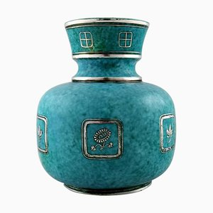 Argenta Art Deco Ceramic Vase Decorated with Flowers by Wilhelm Kåge for Gustavsberg, 1940s