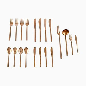 Scanline Cutlery in Brass by Sigvard Bernadotte, 1960s, Set of 20