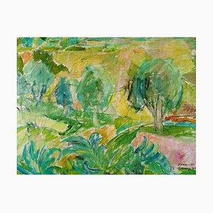 French Landscape from Vence Oil on Canvas by Georg Glud, 1950s