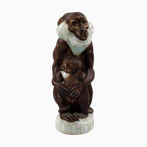 Number 4647 Monkey with Young by Jeanne Grut for Royal Copenhagen, 20th Century