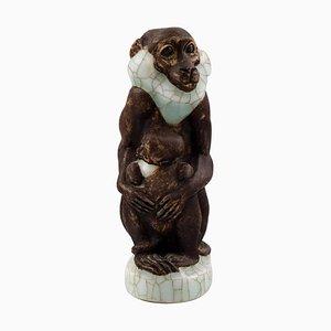 Nummer 4647 Affe mit Jüngeren von Jeanne Grut für Royal Copenhagen, 20. Jahrhundert