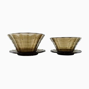 Art Deco Topaz Colored Bowls by Simon Gate for Orrefors & Sandvik, 1930s, Set of 2