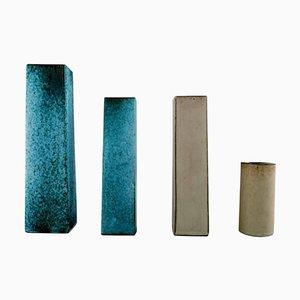 Vases Scandinaves en Céramique Peinte à la Main, 20ème Siècle, Set de 4