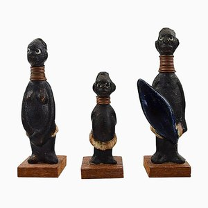 Ceramic Hottentot Figurines by Rolf Palm for Höganäs, 1950s, Set of 3