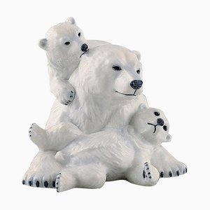 Porcelain Polar Bear Mother with Cubs by Allan Therkelsen for Royal Copenhagen, 20th Century