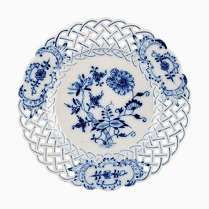 Onion Pattern Reticulated Plates by Stadt Meissen, Set of 7
