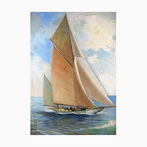 Sailing Ship with White Sails Oil on Board, 1950s
