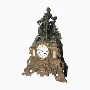 French Brass La Fontaine Clock, 1900s