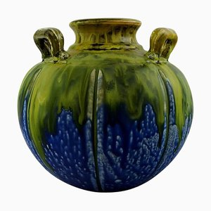 French Art Deco Vase with Handles in Blue and Green by Gilbert Metenier, 1920s