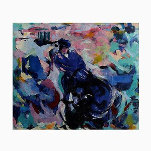 French Bullfighting Oil on Canvas by Ray Letellier, 20th Century