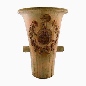 Vaso colossale in ceramica smaltata con asta di Asclepio di Arne Bang, 1933