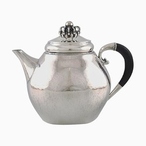 Antique Teapot in Sterling Silver with Ebony Handle