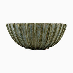 Colossal Stoneware Bowl with Fluted Corpus by Arne Bang, 1930s