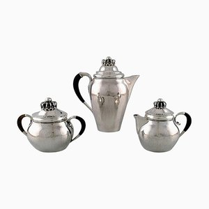 Antique Coffee Service in Sterling Silver with Ebony Handles from Georg Jensen