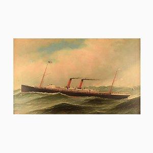 La Navarre Liner from Transat Oil on Canvas by Antonio Jacobsen, 1897