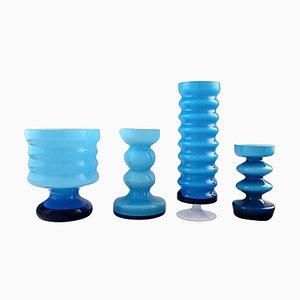 Schwedische Moderne Türkise Kunstglas Vasen, 20. Jahrhundert, 4er Set