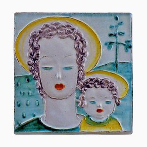 Art Deco Plaque of Earthenware Woman and Child from Goldschneider, 1930s