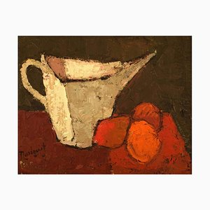 Swedish Modernist Still Life Oil on Board by Lundqvist, 1960s