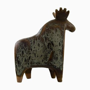 Large Moose in Glazed Ceramic by Lisa Larson for Gustavsberg, 1970s