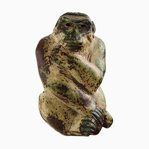 Glazed Stoneware Monkey Figure by Knud Kyhn for Royal Copenhagen, 1940s