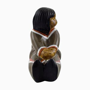 Ceramic Greenlandic Girl Figure by Vicke Lindstrand for Upsala-Ekeby, 20th Century