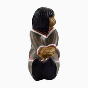 Figura raffigurante ragazza in ceramica di Vicke Lindstrand per Upsala-Ekeby, XX secolo